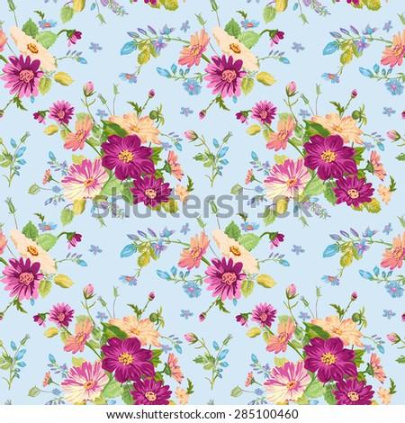 Vintage Floral Background - seamless pattern for design, print, scrapbook - in vector - stock vector