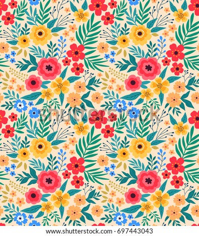 vintage floral background seamless vector pattern for design and fashion prints flowers pattern with - Floral Backgrounds