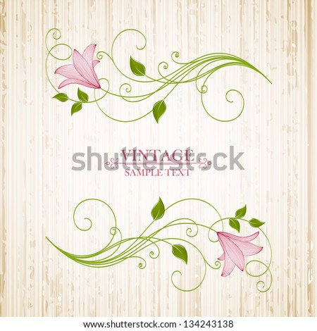 Vintage floral background with flower lily. Element for design. - stock vector