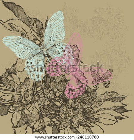 Vintage floral background with pink and blue butterflies. Vector illustration. - stock vector