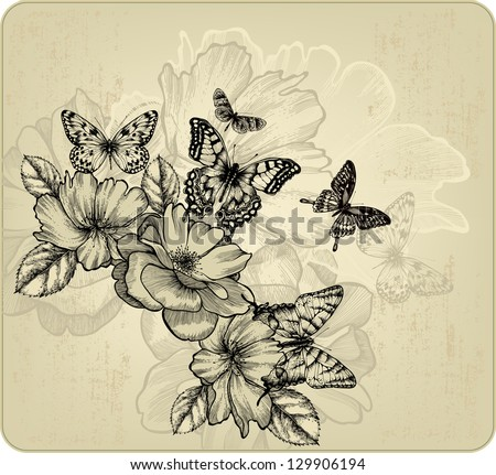 Vintage floral background with roses and butterflies. Vector illustration. - stock vector