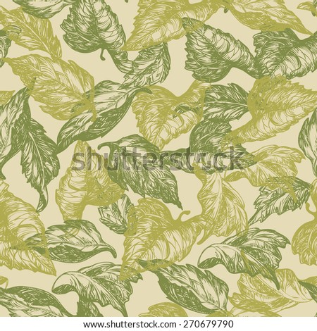 Vintage floral backgrounds. Vector ornate seamless  patterns with leaves at engraving style - stock vector
