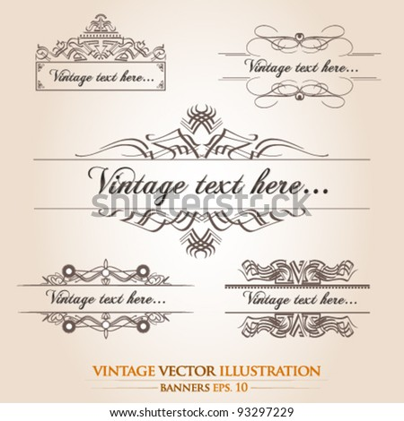 Vintage floral banner template collection
