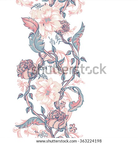 Vintage floral baroque seamless border with blooming magnolias, rose and twigs, roses vector illustration, flower pattern - stock vector