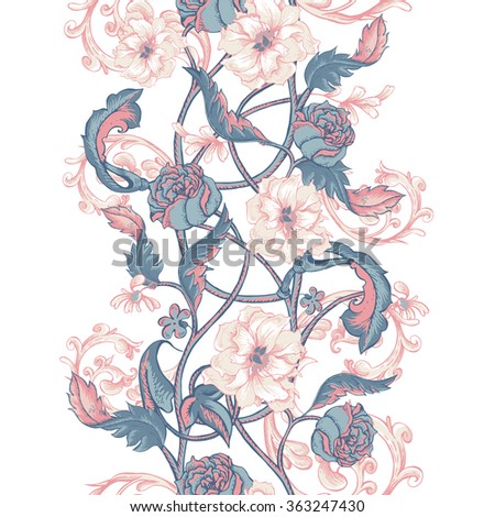 Vintage floral baroque seamless border with blooming magnolias, roses and twigs, vector illustration - stock vector