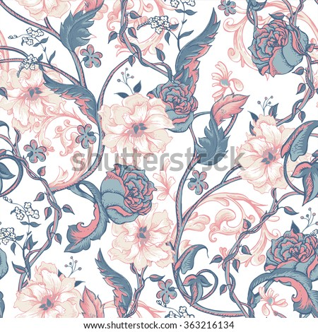 Vintage floral baroque seamless pattern with blooming magnolias, roses and twigs, vector illustration - stock vector
