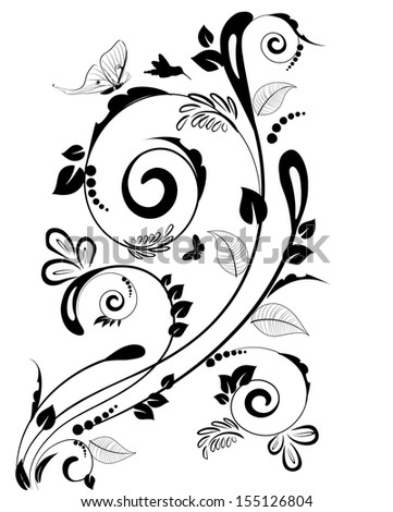 Vintage floral border for your design - stock vector