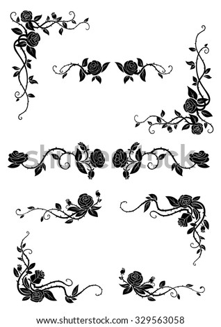 Vintage floral borders with blooming rose vines, adorned by lush flowers and dainty buds. Retro style dividers and corners - stock vector