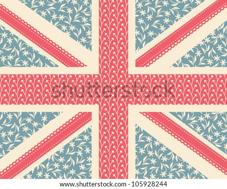 Vintage floral British flag. - stock vector