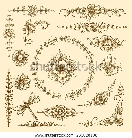 Vintage floral calligraphic decorative elements sketch set with flowers and butterflies isolated vector illustration - stock vector
