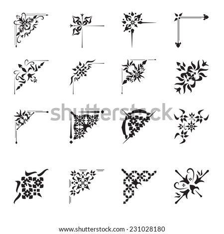 Vintage floral calligraphic floral vignette scroll corners ornamental design elements black set isolated vector illustration - stock vector