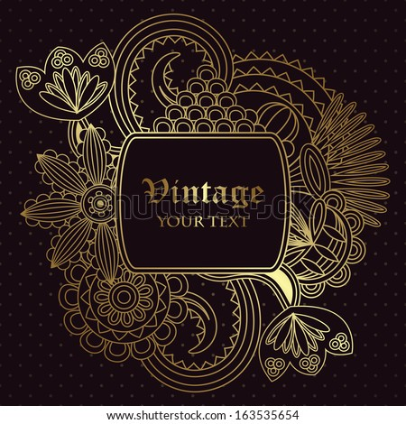 Vintage floral card. Seamless background with polka dot        - stock vector