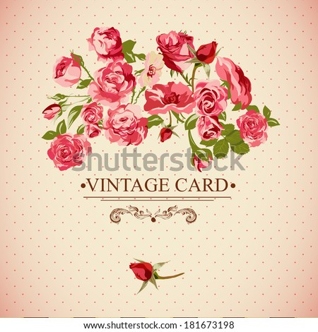 Vintage Floral Card with Roses  Vector Design Element.  - stock vector