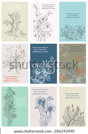 Vintage Floral Cards Set. Frame with doodle Flowers. Retro Graphic Style for beautiful design, Vector - stock vector