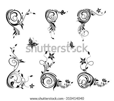 Vintage floral corners - stock vector