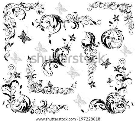 Vintage floral decorative elements (black and white - stock vector