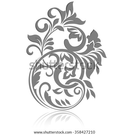 Vintage floral design element isolated on white background. - stock vector