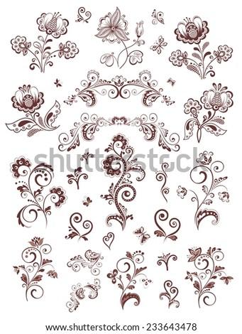 Vintage floral design elements - stock vector