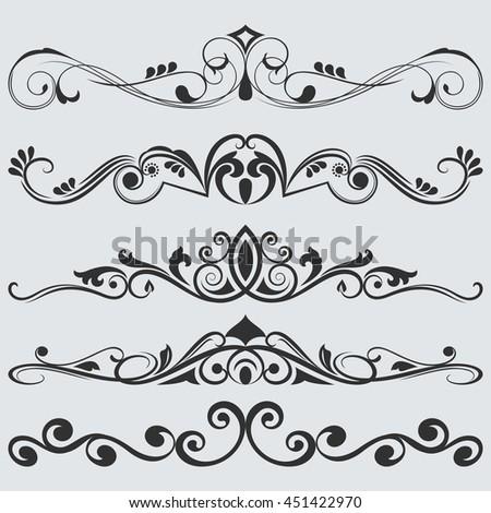 Vintage floral dividers vector set. Retro book separators.  - stock vector