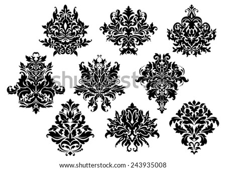 Vintage floral elements and motifs set in damask or arabesque style - stock vector
