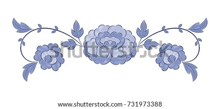 Vintage floral embroidery pattern vector. Winter blue peony flower ornament stitch print isolated. Ethnic textile patch design for bedlinen, tablecloth or napkins, pillow case, fashion clothing.