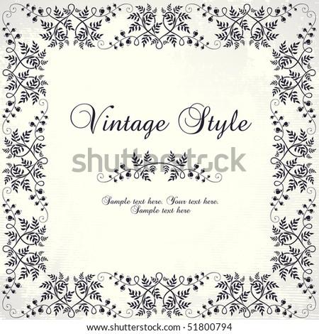 vintage floral frame - stock vector