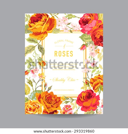 Vintage Floral Frame - for Invitation, Wedding, Baby Shower Card - in vector  - stock vector