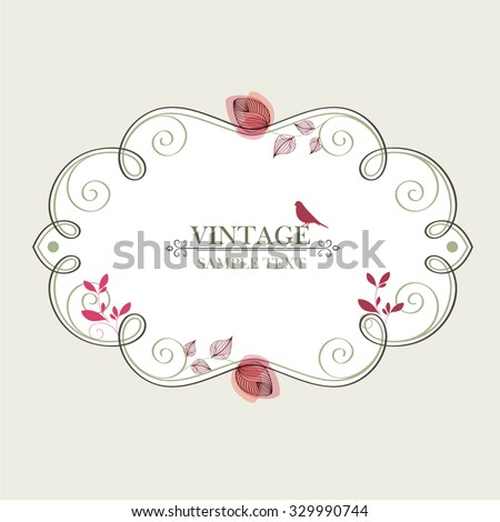 Vintage floral frame with a bird. Element for design. - stock vector