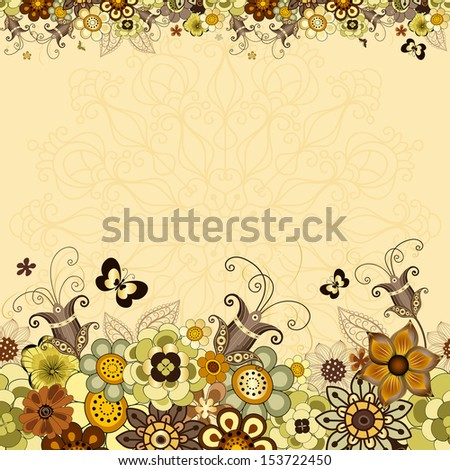 Vintage floral frame with colorful flowers and butterflies (vector EPS10) - stock vector