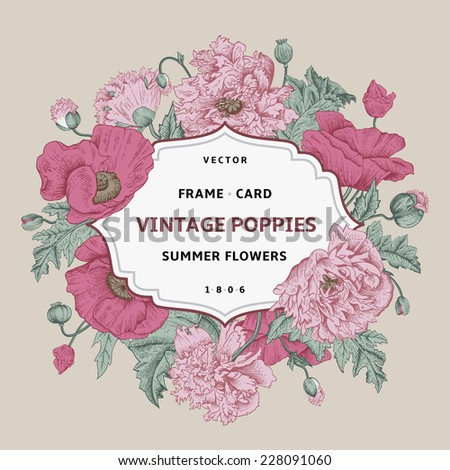 Vintage floral frame with pink poppies on a beige background. Vector illustration. - stock vector