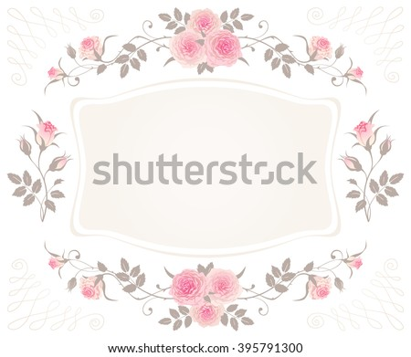 Vintage Floral Frame with pink roses isolated on a white background. Shabby chic style vector design for greeting or invitation card. Beautiful floral vignettes. - stock vector