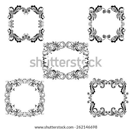 Vintage floral frames - stock vector