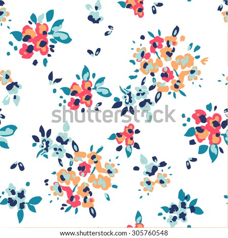 vintage floral garden seamless pattern - stock vector