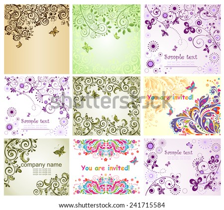 Vintage floral greeting cards - stock vector