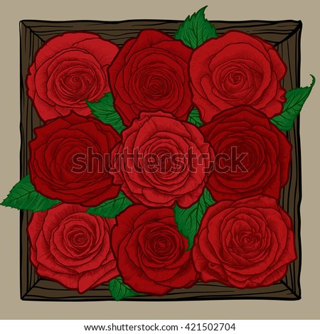 Vintage floral highly detailed hand drawn rose flower stem with roses and leaves. Roses bouquet. Design for creating greeting cards, invitations, wedding congratulations. Vector illustration.  - stock vector