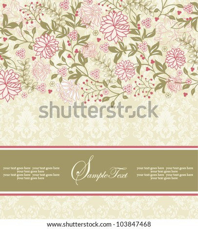 vintage floral invitation card with pink flowers - stock vector