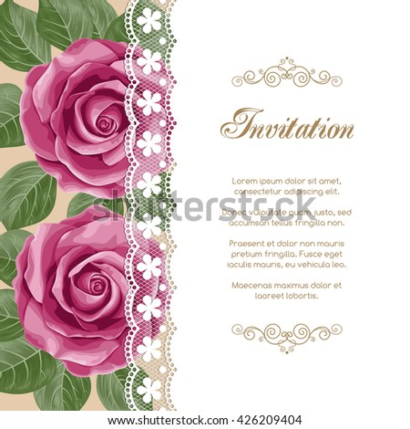 Vintage floral invitation template with hand drawn flowers and lace border. Illustration in retro style. Vector - stock vector