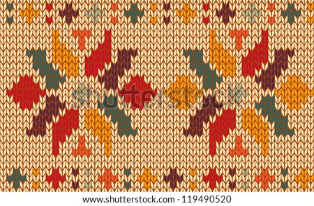 Vintage floral knitting seamless pattern useful for fashion and textile industry. Vector illustration layered for easy manipulation and custom coloring.