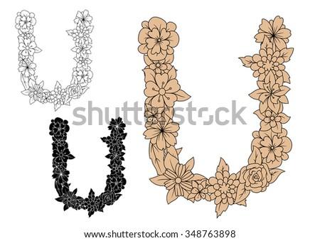 Vintage floral letter U with outline flower shapes. For retro style alphabet and font design - stock vector