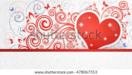 Vintage floral love background with heart.