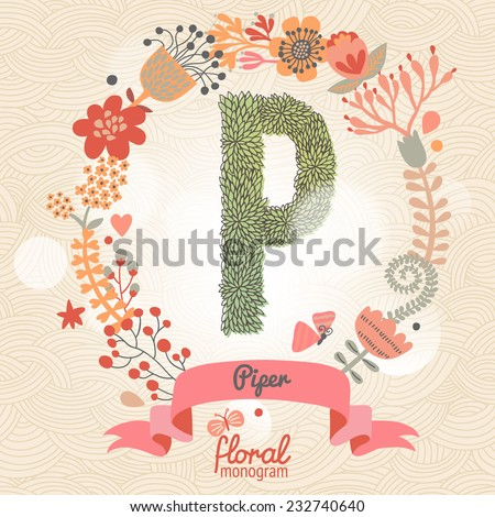 Vintage floral monogram made of green leafs and bright flowers in vector. Stylish letter P can be used for posters, cards, invitations, blogs, websites, backgrounds and any other stylish designs - stock vector
