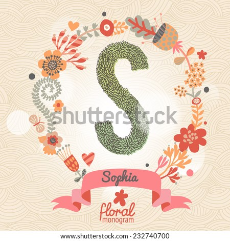 Vintage Floral Monogram Made Of Green Leafs And Bright Flowers In Vector Stylish Letter S