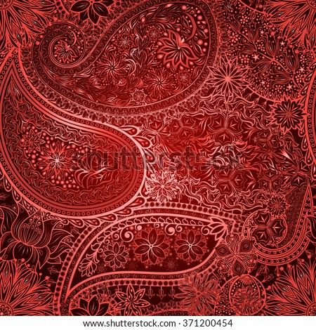 Vintage floral motif ethnic paisley seamless background. Abstract lace pattern. Ability to edit the colors, without losing seamlessly. Hand drawing colorful wallpaper. EPS-8 vector texture. - stock vector