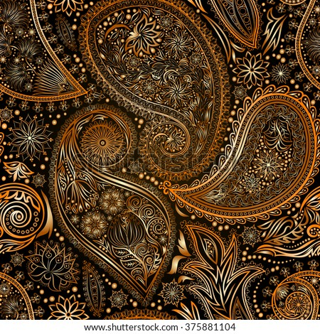 Vintage floral motif ethnic paisley seamless background. Abstract lace pattern. Ability to edit the colors, without losing seamlessly. Hand drawing colorful wallpaper. EPS-8 vector texture.