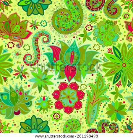 seamless floral pattern pomegranate leaves stock vector 129597368 shutterstock. Black Bedroom Furniture Sets. Home Design Ideas