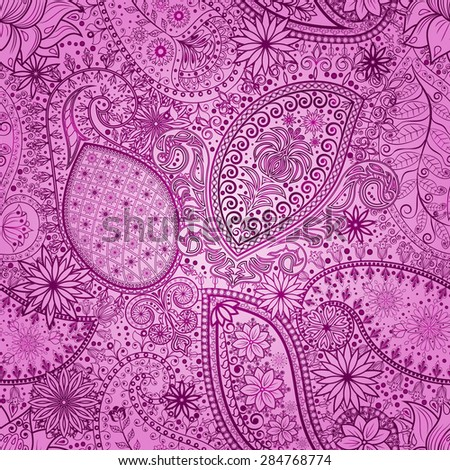 Vintage floral motif ethnic seamless background. Abstract lace pattern. Hand drawing colorful wallpaper. EPS-8 vector texture.