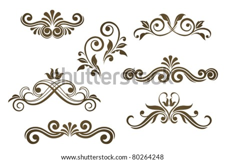 Vintage floral motifs for design isolated on white. Jpeg version also available in gallery - stock vector