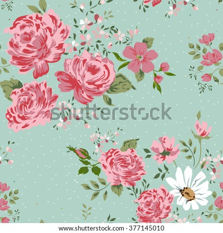 Vintage floral pattern. Border of flowers-rose, peony, chamomile. - stock vector