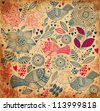 Vintage floral pattern with birds - stock vector