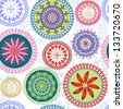 Vintage floral pattern with colorful lacy circles (vector) - stock vector